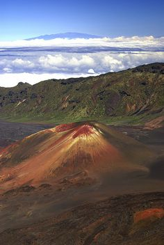 Small volcano inside the crater of a larger one, Maui