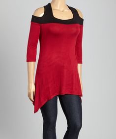 Loving this Black & Burgundy Cutout Top - Plus on #zulily! #zulilyfinds