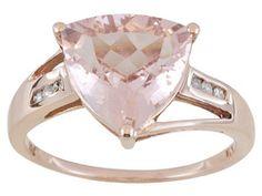 Cor-de-rosa Morganite 2.00ct Trillion With Round Diamond Accent 10k Rose Gold Ring