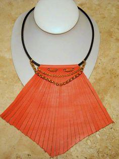 Orange Peach Leather Fringe Bib Necklace by BumbleberryJewelry, $35.00  #leatherjewelry