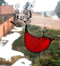 Stained glass RED BIRD suncatcher window by CreativeGlassStudio,
