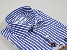 e541cbd106e831 Ingram slim fit blue shirt with french neck stripes