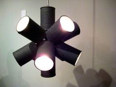 DIY hanging lamp with cans wrapped in fabric