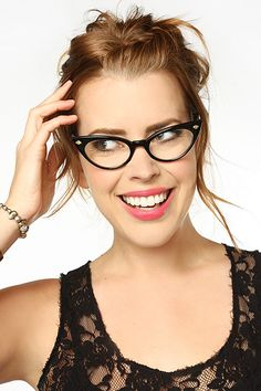 'Hayworth' Sharp Point Cat Eye Clear Glasses - Olive - 5341-6