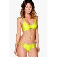Buy boohoo Mix and Match Strappy Bikini Top lime £10 from Women's Swimwear range…