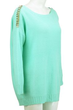 Gold-tone Riveted Mint Sweater