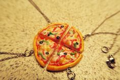 Pizza Friendship Necklace VARIOUS SIZES - food jewelry, miniature food, pizza necklace, bff necklace, friends necklace, friendship necklace