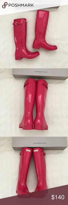 Brand new hunter original tour Gloss Rain boots Brand new hunter original tour Gloss Rain boots US 8, euro 39 color is pink mosse Hunter Shoes Winter & Rain Boots