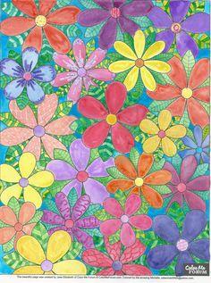 JUST FLOWERS coloring Page by Jade Elizabeth at Color Me Forum - Strut Your Stuff - Color Me Forum