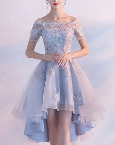 Light Blue High Low Elegant Prom Dress Lace Appliques Beaded Off Shoulder Short Sleeve Back Design Lace-up Short Homecoming Dresses Material:+Satin+Tulle+Lace+ Occasion:Prom,Evening,Homecoming Neckline:+Beteau Customers+Need Light Blue Homecoming Dresses, Pretty Prom Dresses, Elegant Prom Dresses, Hoco Dresses, Ball Dresses, Sexy Dresses, Cute Dresses, Beautiful Dresses, Fashion Dresses