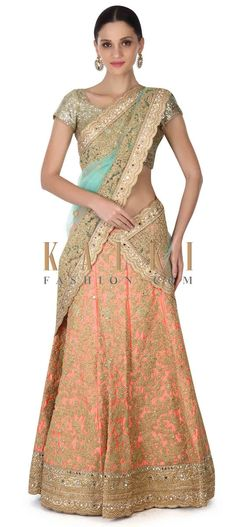 Buy this Semi stitched coral lehenga in zari and moti embroidery only on Kalki