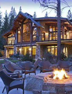 Image result for lake house stone timber