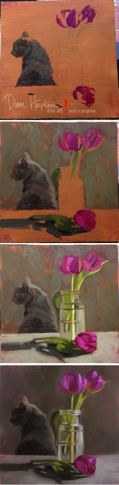 "Painting in progress shots!  ""Coco and Tulips"" by Diane Hoeptner.  Oil on wood, 8"" x 8,"" Private Collection."