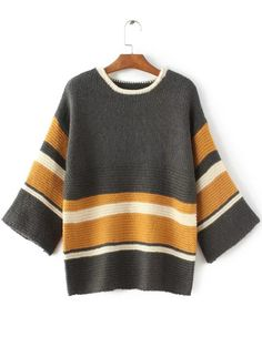 SheIn offers Striped Color Block Loose Sweater & more to fit your fashionable needs. Cable Knit Sweater Dress, Loose Knit Sweaters, Pullover Sweaters, The Cardigans, Sweaters For Women, Color Blocking Outfits, Knit Fashion, Color Block Sweater, Crochet Clothes