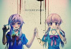 Anime Mirai Nikki Anime Yuno Gasai Future Diary Pink Hair Yandere Sangue Garota School Uniform Papel de Parede