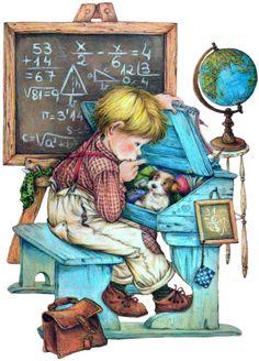 School / Card illustration by Lisi Martin Cute Images, Cute Pictures, Sarah Key, Vintage School, Spanish Artists, Holly Hobbie, Gif Animé, Cute Illustration, Vintage Pictures