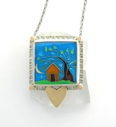 Home Is Where the Heart is Necklace, Cloisonne Enamel Statement Necklace, Artisan Enamel jewelry. $495.00, via Etsy.