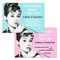 DELIA & SHELBY... Audrey Hepburn wedding shower birthday party breakfast invitation