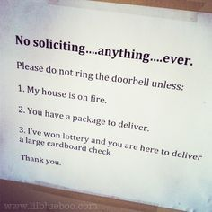 No Soliciting sign for your front door. Chalkboard ...
