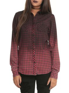 Ombre Black & Red Plaid Top | Hot Topic