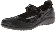 Naot Footwear Women's Kirei Black Madras Leather #shoes http://www.theshoespack.com/naot-footwear-womens-kirei-black-madras-leather/  Naot Footwear Women's Kirei Black Madras Leather The Naot Kirei is a darling Mary Jane from Naot. Set in a leather and suede upper, this women's shoe feature beautiful detailing on the vamp and intricate stitching detail. The adjustable strap of this Naot shoe provides a custom fit. The suede-covered footbed molds to the foot and provides excellent ar..
