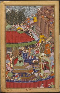 This is the left side of a double-page composition from the Akbarnama (Book of Akbar) (the right half is Museum no. IS.2:51-1896). The overall composition was designed by Miskina, one of the greatest artists of the Mughal court, with the details on this half being painted by Bhagwan. Together, they depict the Mughal emperor Akbar (r.1556–1605) receiving spoils of war from his leading general Asaf Khan in Jaunpur in 1565.