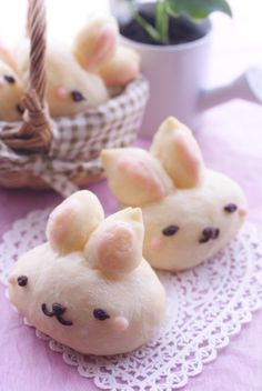 ♡• CʋTε F00D~~ •♡ rabbit shaped bread - chocolate icing face - pastry - japanese sweets - kawaii