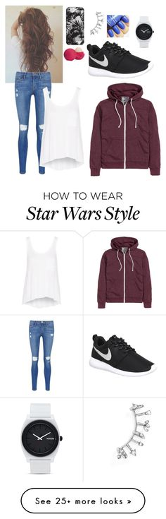 """Casual Outfit-K"" by fandom-fashion7 on Polyvore featuring BaubleBar, Eos, Casetify, Frame Denim, NIKE, H&M, rag & bone and Nixon"