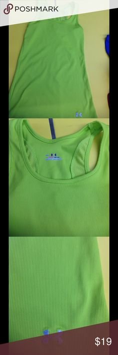 Under Armour green ribbed long fit tank top small EUC Under Armour Tops Tank Tops