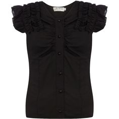 Black ruffle blouse ($27) ❤ liked on Polyvore