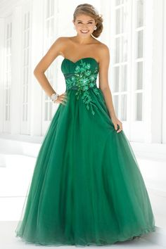 Emerald Green Evening Gowns with sleeves | New Prom Dresses 2014