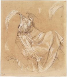 Study of seated woman by Jean Auguste Dominique Ingres (1780-1867, France)