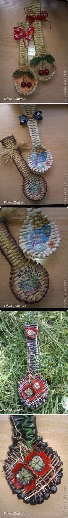 Плетение ложки из газетных трубочек