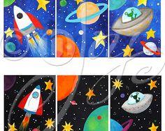 CUSTOM art Solar System 16x12 acrylic canvas painting by nJoyArt
