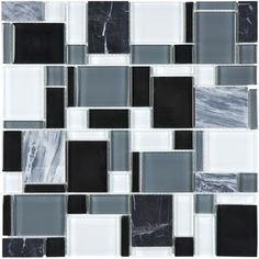 Sassi - Midnight Glass Stone Pattern Mosaics - 94-079 - Home Depot Canada