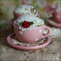 Pin cushions-repurpose for my daughter's old tea set pieces