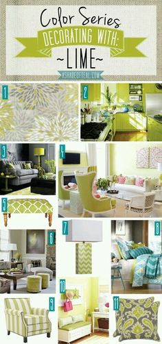 Color Series: Decorating with Lime. #myhome #homedesign Find Lime items here ➡ pasteltrail.com