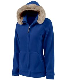 Charles River Apparel 5125 Women's Faux Fur Fleece Hoodie Jacket - True Blue #fauxfur #CharlesRiverApparel
