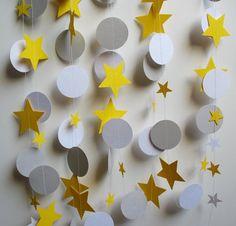 Garland 12' Yellow, Gray, and White Circles and Stars
