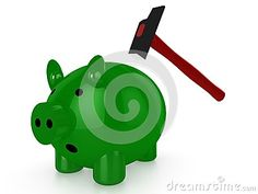 Green piggy bank with hammer on white background