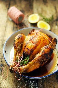 roasted chicken with lemon, thyme, garlic and paprika