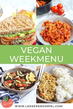 Vegan weekly menu with 7 delicious recipes such as a vegan club sandwich, curry with k . - Vegan weekly menu with 7 delicious recipes such as a vegan club sandwich, curry with k … – Fo - Vegan Diner, Vegan Cafe, Vegan Menu, Vegetarian Recepies, Veggie Recipes, Dinner Recipes, Healthy Recipes, Delicious Recipes, Tasty