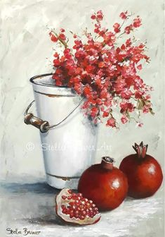 Simple Oil Painting, Oil Painting Flowers, Watercolor Flowers, Watercolor Paintings For Beginners, Acrylic Painting Techniques, Stella Art, Foto Transfer, Arte Floral, Beautiful Paintings