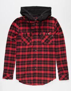KEY STREET Aspen Mens Hooded Flannel Shirt 268501329   Flannels