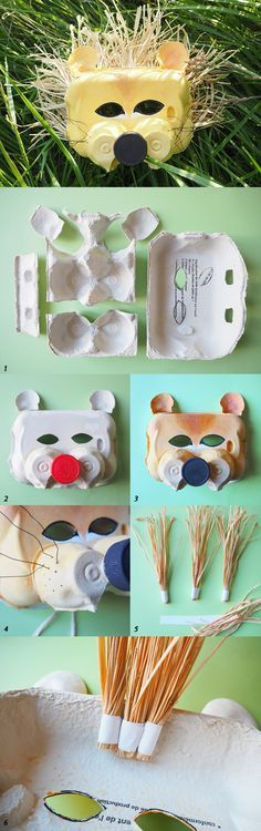 DIY : un masque de lion Diy For Kids, Crafts For Kids, Diy Crafts, Diy Carnaval, Diy Pour Enfants, Egg Carton Crafts, Art Lessons Elementary, Craft Activities For Kids, Recycled Art