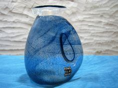 Vase / Pitcher – Swedish Art Glass – Roma Glasbruk – Labelled Signed – Clear & Blue Stained Crystal Glass – Scandinavian Studio Glass Sweden von everglaze auf Etsy