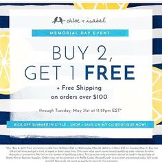 Buy 2 Get 1 Free, sale is live now in my boutique!  ***Until May 31st 2016*** Stock up on graduation gifts, wedding wear, vacation jewels or beach accesories. There is no limit!! Check my online boutique now ❤️👉http://www.chloeandisabel.com/boutique/twinsgalan #Sale