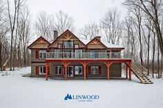 This stunning custom home is a unique post and beam style. The intricate colors and textures of this home are beautiful. This cozy rustic cottage is the perfect place to spend family vacations for the holidays. Winter Cabin, Cozy Winter, Linwood Homes, Home Lottery, Luxury Estate, Rustic Cottage, Next At Home, Estate Homes, Custom Homes