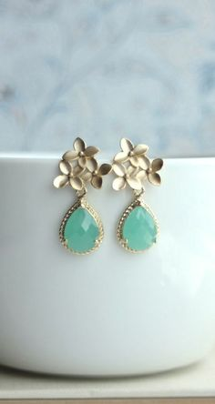 Mint Opal Cherry Blossom Gold Framed Green Glass Jewel Drop Earrings. Gold Flower Earrings. Bridesmaid Gifts by Marolsha.