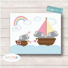 Family boat time girls Childrens / Art Nursery by DottyMoonDesign